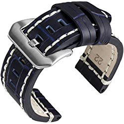 "22mm Geckota® ""Rugged"" Blue Alligator Grain, Heavy Duty, Ivory Stitch Replacement Watch Strap"