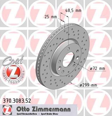 Preisvergleich Produktbild ZIMMERMANN 370.3083.52 Bremsscheibe Scheibenbremsen, Bremsscheiben (x2)