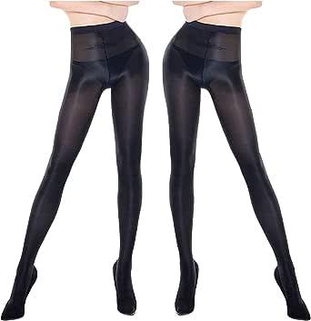 Fasbys Calze da donna anti-smarrimento Plus taglia 70D olio Shiny Collant per donne e ragazze