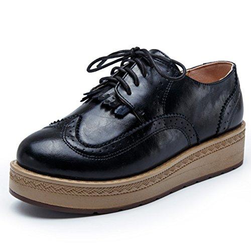 Damen Herbst Retro Britische Stil Bullock Muster Dicke Sohle Quaste Bequeme Flache Halbschuhe Sneakers Mokassins Schwarz