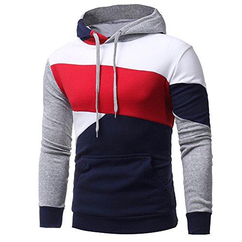 Honestyi Herren Kapuzenpullover, Herren Langarm Hoodies Sweatshirt Tops Jacke Mantel Abnutzung Kapuzenpullover(Marine,XL)