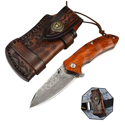 AUBEY Damaststahl Klappmesser Holzgriff, VG10 Damast Messer EDC Taschenmesser Sandelholz, Damastklinge Damastmesser Outdoor Pocket Flip Knife, 7,5 cm Klinge