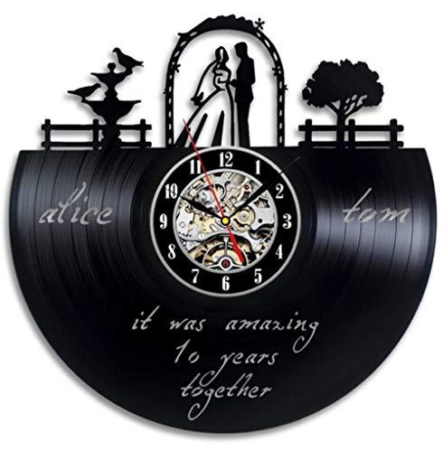 Menddy Paris Wanduhr 10 Jahre Hochzeit Souvenir Jubiläum Schallplatte Wanduhr Wohnzimmer Schlafzimmer Wohnkultur Uhr Kein Led-Licht 12 Zoll