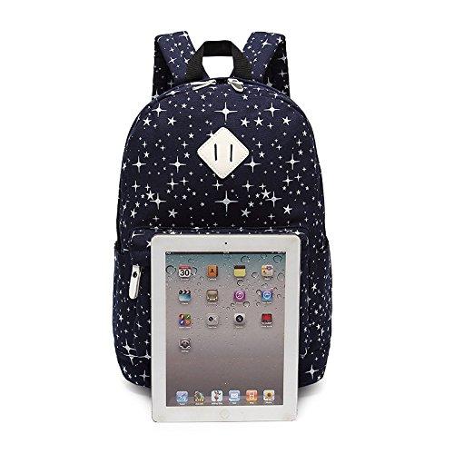 Zaino da scuola per le ragazze adolescenti insieme con la borsa della matita del sacchetto del pranzo Blu scuro