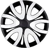 PREMIUM Radkappen Radzierblenden Radblenden 'Modell: Mika' 4er Set, Farbe:Schwarz-Weiß, Felgendurchmesser:15 Zoll