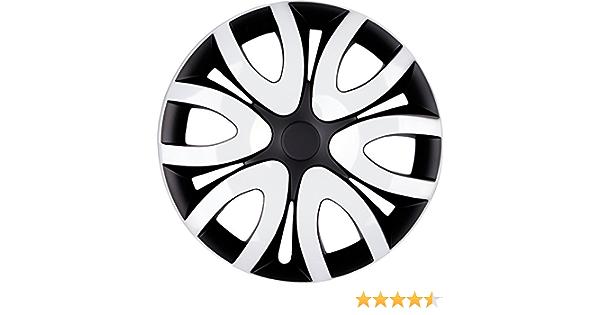 Premium Radkappen Radzierblenden Radblenden Modell Mika 4er Set Farbe Schwarz Weiß Felgendurchmesser 16 Zoll Auto