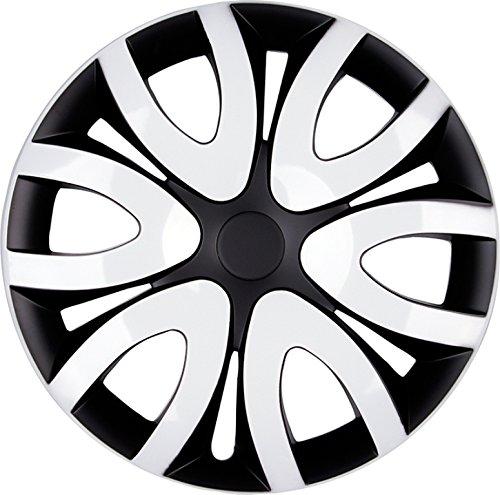 PREMIUM Radkappen Radzierblenden Radblenden \'Modell: Mika\' 4er Set, Farbe:Schwarz-Weiß, Felgendurchmesser:16 Zoll