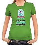 ShirtStreet Fasching Karneval Damen T-Shirt mit Das ist Mein Alien Kostüm 1 Motiv, Größe: S,Apfelgrün