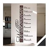 Exklusivpro Wandtattoo Willkommen in 10 Sprachen Flur Diele Eingang mit SWAROVSKI Strass (ban03 schwarz) 120 x 57 cm mit Farb- u. Größenauswahl