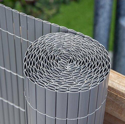 Canisse En Canne De Bambou Artificiel - Gris (4m x 1,5m)