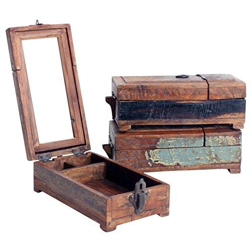 Altholz Tisch (Barber shaving box mit Spiegel aus Altholz vintage)