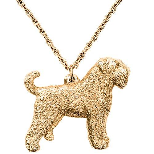 Preisvergleich Produktbild Bouvier des Flandres (mit Schwanz) Hergestellt in U.K. Kunstvolle Hunde- Anhänger Sammlung (22 Karat Vergoldung / gold plattiert)