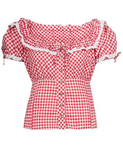 Tracht & Pracht - Damen Baumwolle - Trachtenbluse - Bluse Karo Rot - 50
