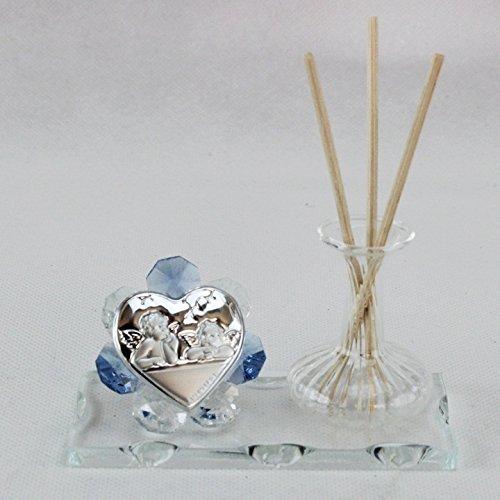 Dlm24777-azzurro profumatore in vetro soffiato angeli puttini_azzurro bomboniera