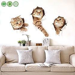 Etiquetas engomadas grandes desprendibles del gato de 3D Historieta divertida del animal doméstico del animal doméstico del gato Decoración fácil de pegar Arte seguro Etiqueta linda del hogar para el