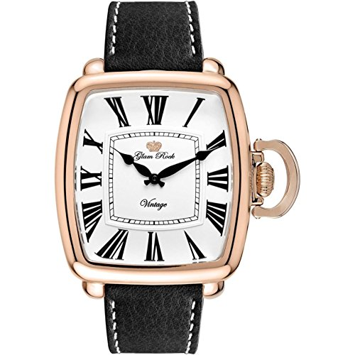 Glam Rock Men's Vintage Black Leather Band Rose Gold Plated Case Swiss Quartz White Dial Watch GR28030F