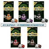 Jacobs Aluminium Kapseln - Probierpaket mit 10 Kapseln - 5 Sorten mit je 2 Kapseln + 10 Foodstore Zuckersticks