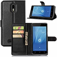 Guran® Leather Case for Doogee Kissme DG580 Smartphone Flip Cover Standing Function and Card Slot Mobile Case--black