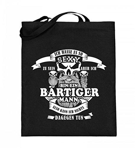 Hochwertiger Jutebeutel (mit langen Henkeln) - Bart T-Shirt / Gut aussehender Mann mit Bart / Sexy mann mit Bart / Lustige Sprüche / Geschenkidee / Geschenk / Rasierer / Bartschneider Schwarz