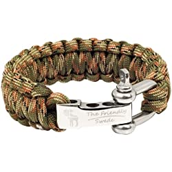 The Friendly Swede Premium 350 lb Paracord Survival Bracelet with Stainless Steel D Shackle - Adjustable Size Fits 7-8 Inch Wrists - Retail Packaging - Lifetime Warranty (Army Green Camo, 9-inch)