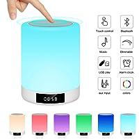 Veilleuse Bluetooth Haut-Parleur, Lampe de Chevet Ranipobo Touch Sensor avec réveil, Lecteur de Musique MP3, Radio FM…