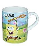 Espressotasse klein - Spongebob Schwammkopf - Porzellan / Keramik - incl. Name - Trinktasse mit Henkel Tasse / Becher Porzellantasse - Espresso - Tassen für Kinder Mädchen Jungen Robert Krabbe