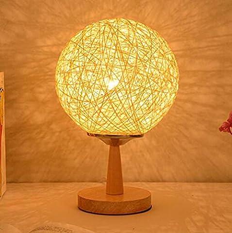 Modern Simple Twine Line Rattan Table Lamp Dimming Night Light Bedroom Office Dining Restaurant Bar Cafe Decorative Lighting