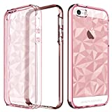 iPhone SE Hülle Case, iPhone SE 5 5S Hülle, iPhone se Hülle Mädchen Damen, BENTOBEN iPhone SE Handyhülle kratzfest flexibel Silikon Case 3D Pattern glatte Cover mit Plating PC Schutzrahmen Bumper stoßfest Schutzhülle Hülle für iPhone SE 5 5S transparent Roségold
