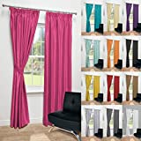 John Aird Luxury Faux Silk Fully Lined Pencil Pleat Curtains With Matching Tie