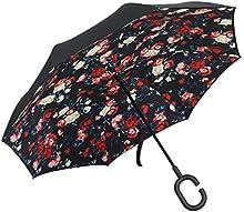 Plemo Paraguas Apertura Inversa, Paraguas de Doble Capa con Autonomía y Mango en forma de C para un uso Libre de Manos