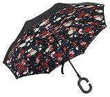 PLEMO Umgekehrter Regenschirm Double Layer Stockschirm mit Rosen Motiv Romantik