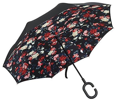 Parapluie de Golf PLEMO Parapluie Inversé Double Couche Anti-Vent Solide Mains Libres Poignée en forme C Idéal pour Voiture, Voyage et Shopping Grande taille de 107cm de Diamètre Noir avec motif de Roses IU-02