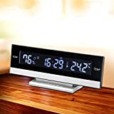 Haosen LCD-Bildschirm Wecker Digital Elektronischer Hinterleuchtet Wecker - Multi-Content-Display inklusive Zeit, Kalender, Temperatur und Luftfeuchtigkeit (Silber)