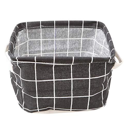 SFHTFTRGJRYJ Handtaschen Faltbarer Lagerung Organizer Körbe Leinen Stoff Aufbewahrungskorb Boxen (Schwarz Gitter) Mode Living Taschen (Color : Colour, Size : One Size) -