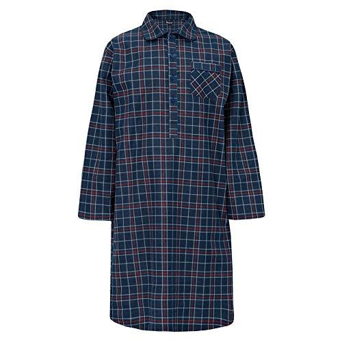 Herren Nachthemd Abendkleid Streifen Kariert 100% Baumwolle Gebürstet Winter Warm Marineblau Kariert