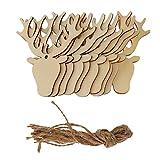 Blesiya Hirsch Form Weihnachtsbaum Anhänger, Tannenbaumanhänger, Christbaumschmuck aus Holz, Set/20Stück