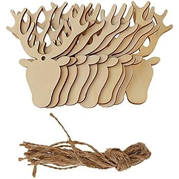 Amazon.de: 6 Stück kleine natur braune Holz RENTIER HIRSCH
