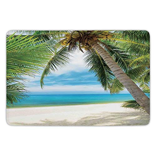 h Rug Kitchen Floor Mat Carpet,Ocean Decor,Shadow Shade of a Coconut Palm Tree on White Sand,Flannel Microfiber Non-Slip Soft Absorbent,23.6 X 15.7 Inch ()