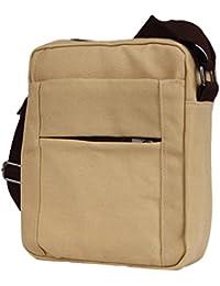 Beige : Fulltime(TM) Men's Shoulder Bag Retro Flight Bag Bag Small Canvas Cross Body Everyday Satchel Bag (Beige)