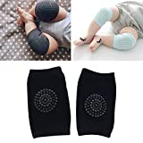 Generic One Pair Anti-slip Children Baby Crawling Walking Knee Guard Elbow Guard Protecting Pads(Black)