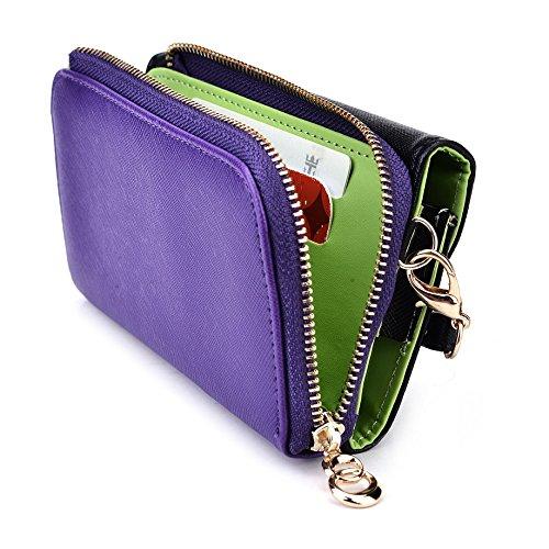 Kroo d'embrayage portefeuille avec dragonne et sangle bandoulière pour Samsung Rex 90Smartphone Black and Purple Black and Purple
