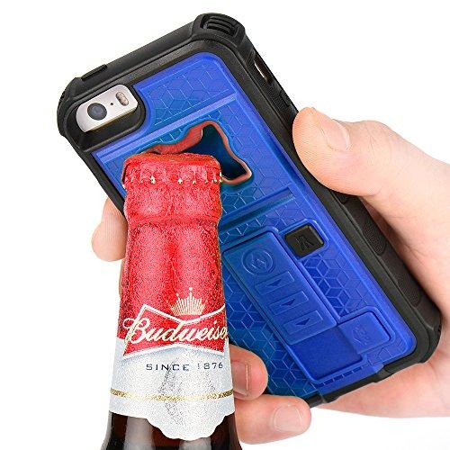 ZVE - Carcasa de móvil multifuncional, con encendedor de cigarrillos y abrebotellas, para iPhone 5 y 5S, silicona, azul, Iphone 5 5s 131.6*66.5*20mm
