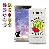Samsung Galaxy J3 2016 (J310) Hülle, Wanxideng TPU Silikon Schutzhülle - Ultra-Dünne Weiche Schale - Transparenter Kristall Hülle mit Glitzerpuder & Süßes Muster - Wassermelone