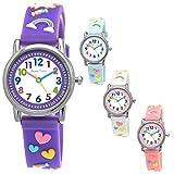 Pure Time® Einhorn Unicorn Kinder-Uhr Mädchen-Uhr Kinder Armband-Uhr Pferd Pony Tier Silikon Armband Mädchen Uhr Kinderuhr Weiß Rosa Lila Türkis Gelb Lern-Uhr Schul-Uhr 3D (lila - violett)
