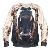 Bear Bär Tier Animal Aufdruck Sweater Fullprint Fashion Oversize Sweatshirt Pullover Pulli Hipster