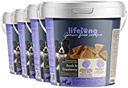 Amazon-Marke: Lifelong - Hundeleckerli, ohne Weizen mit Mono-Proteinquelle -Ente & Cranberry (4 x 500gr Be