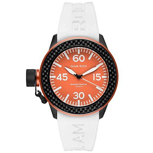 Glam Rock Women's Racetrack 40mm White Silicone Band IP Steel Case Quartz Orange Dial Watch GRT29002F