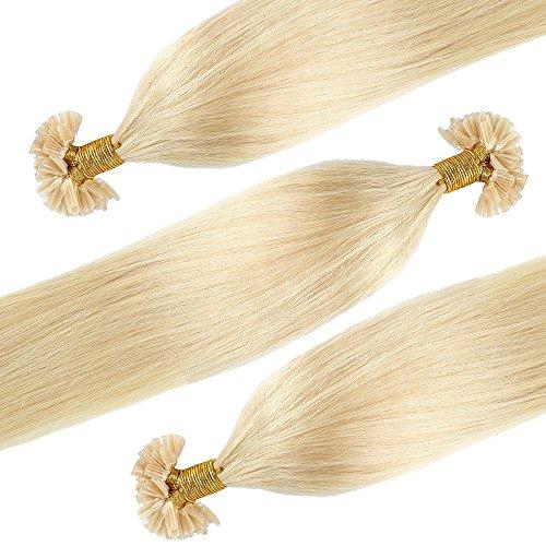 Extension capelli veri cheratina 100 ciocche meches - 40cm #613 biondo chiarissimo - 100% remy human hair pre bonded u tip nail hair capelli naturali lisci 0.5g/fascia