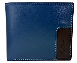 Gentleman Genuine Leather Wallets For Men (Blue TMaroon) Bi-Fold With Card Slots