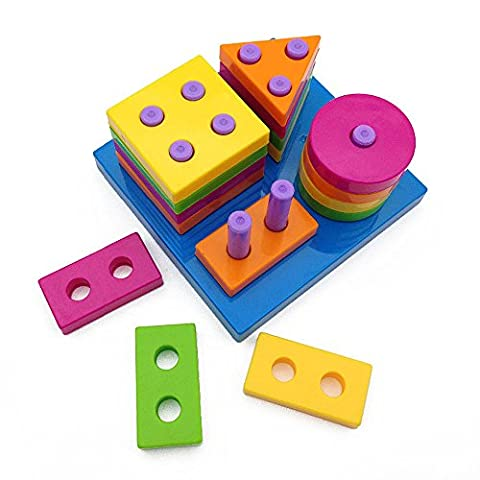 Wishtime Boys Girls Shape Sorting Board and Stacking Baby Funny Plan Stacker Toys